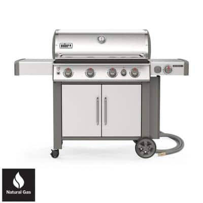 Genesis II S-435 4-Burner Natural Gas Grill in Stainless Steel with Built-In Thermometer and Side Burner