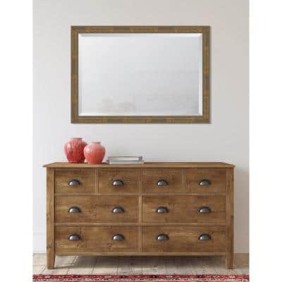 Medium Rectangle Gold Beveled Glass Contemporary Mirror (40 in. H x 28.25 in. W)