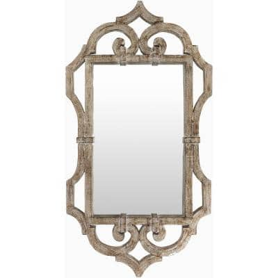 Medium Rectangle Silver Art Deco Mirror (21 in. H x 39.5 in. W)