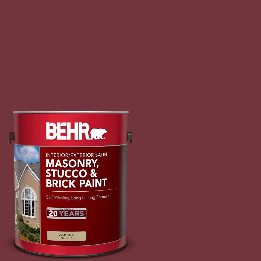1 gal. #S130-7 Cherry Cola Satin Interior/Exterior Masonry, Stucco and Brick Paint