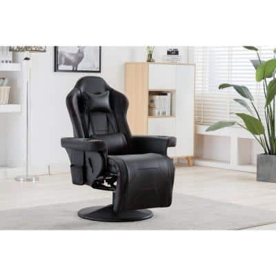 Black Lumbar Support Reclining Gaming Chair with Adjustable Headrest and Cupholder