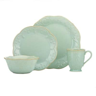 French Perle 4-Piece Traditional Light Blue Stoneware Dinnerware Set (Service for 1)