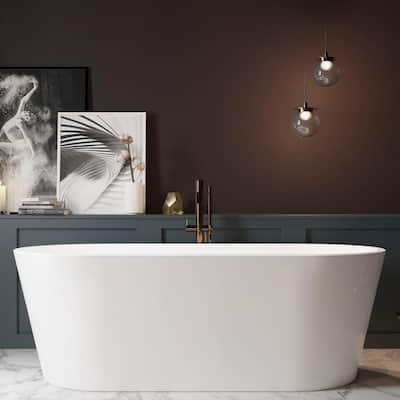 59 in. Fiberglass Double Ended Flatbottom Non-Whirlpool Bathtub in Glossy White