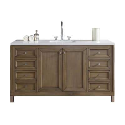 Chicago 72 in. W Single Bath Vanity in Whitewashed Walnut with Quartz Vanity Top in Classic White with White Basin