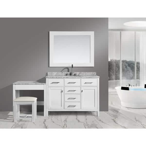 Design Element London 48 In W X 22 In D Vanity In White With Marble Vanity Top In Carrara White Mirror And Makeup Table Dec076c W Mut W The Home Depot