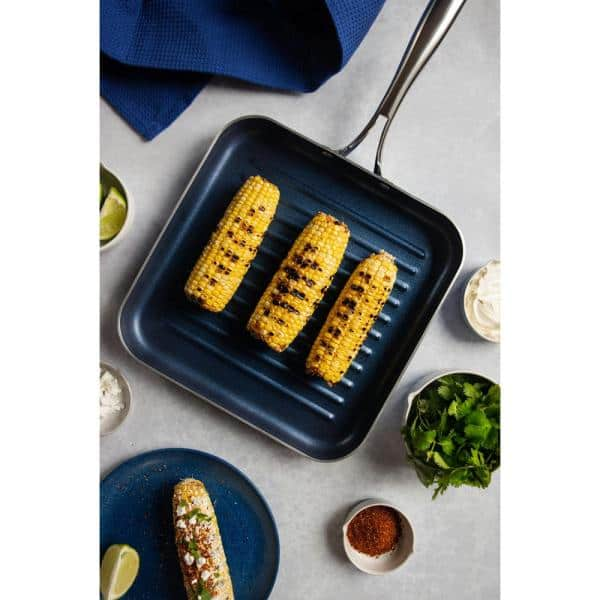 """Details about  /Griddle Pan Diamond Granite Stone Classic Blue Nonstick Flat 10.5/"""" Cookware"""
