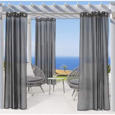 No Se'em Sheer Grommet Indoor/Outdoor Curtain Panel, 50 in. x 96 in. in Black