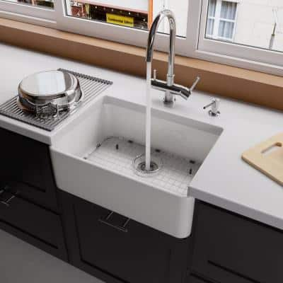 Smooth Farmhouse Apron Fireclay 23 in. Single Basin Kitchen Sink in White