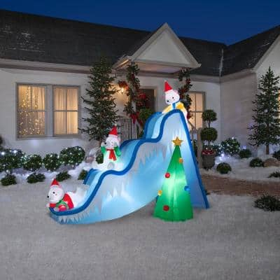 9 ft. Inflatable Lighted Airblown Polar Bears on Slide Scene