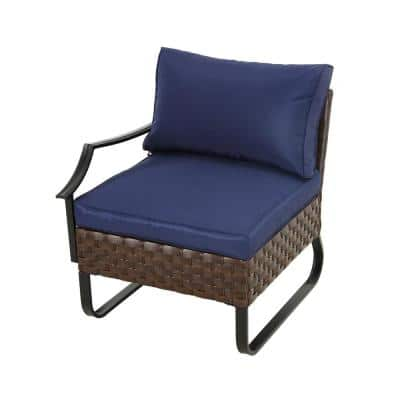 U-Leg Wicker Outdoor Right-Arm Chair with Blue Cushions