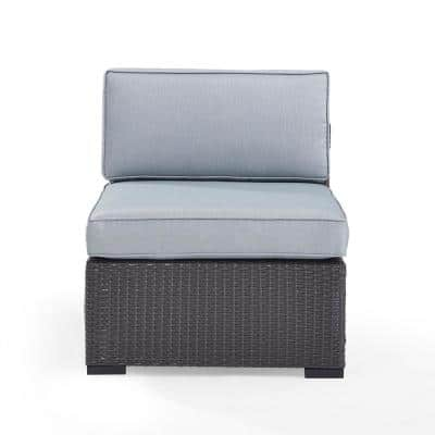 Biscayne Wicker Outdoor Patio Armless Lounge Chair with Mist Cushions