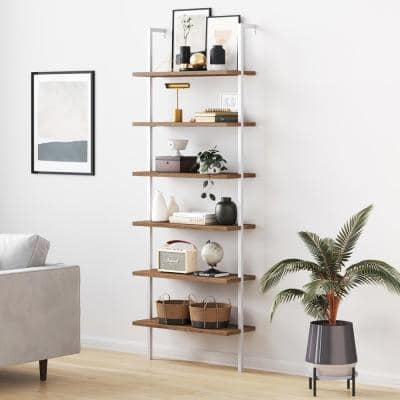 Theo Rustic Oak Wood 6-Shelf Tall Ladder Bookcase Wall Mount Bookshelf Matte White Metal Frame