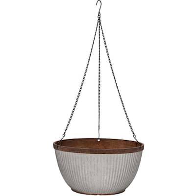 Westlake 12.5 in. Rustic Galvanized High-Density Resin Hanging Basket Planter