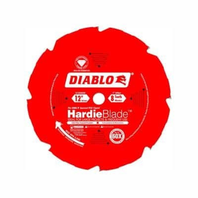 12 in. x 8-Tooth Polycrystalline Diamond (PCD) Tipped James Hardie/Fiber Cement Cutting Saw Blade