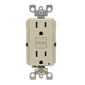 15 Amp Self-Test SmartlockPro Slim Duplex GFCI Outlet, Ivory