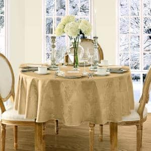 70 in. Round Gold Barcelona Damask Fabric Tablecloth