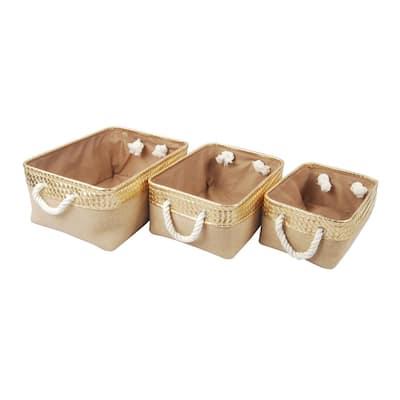 Alcott Jute Nested Baskets Gold/Natural (Set of 3)