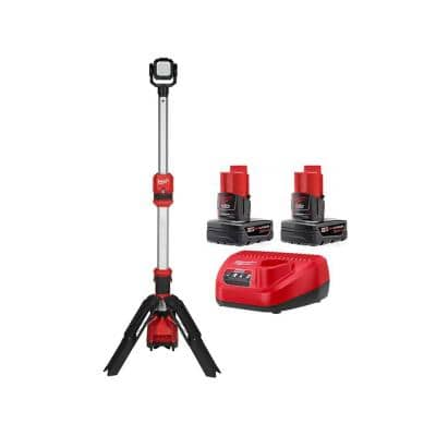 M12 12-Volt Lithium-Ion Cordless 1400 Lumen ROCKET LED Stand Work Light with Two M12 6.0 Ah Battery Packs and Charger