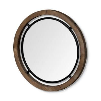 Medium Round Naturally Finished Wood  Classic Mirror (24.3 in. H x 24.3 in. W)