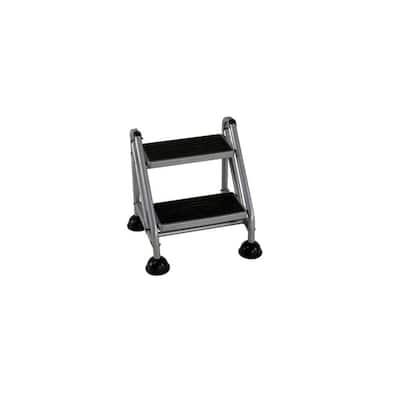 6 ft. 2-Step Rolling Steel Step Ladder