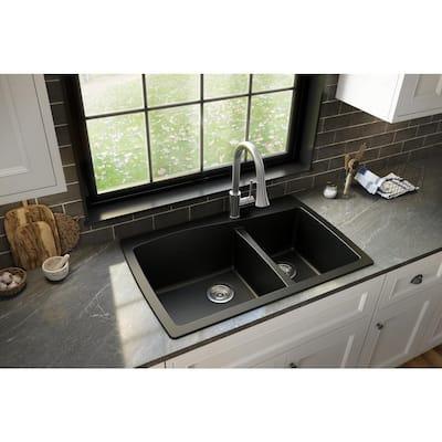 Drop-In Quartz Composite 34 in. 1-Hole 60/40 Double Bowl Kitchen Sink in Black