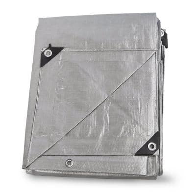 40 ft. x 40 ft. All Weather Proof Heavy Duty Silver Tarpaulin Tarp - 3-Layer Thickness