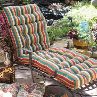 22 in. x 72 in. Sunset Stripe Outdoor Chaise Lounge Cushion