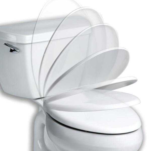 Bemis Affinity Never Loosens Slow Close Easy Clean Elongated Plastic Toilet Seat In White 1203slow 000 The Home Depot