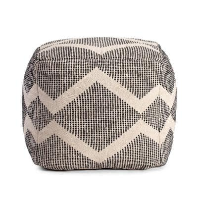 Maplewood 20 in. x 20 in. x 20 in. Black and Ivory Pouf