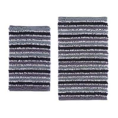 Black/White/Ash 21 in. x 34 in. and 40 in. x 24 in. 2-Piece Bath Rug