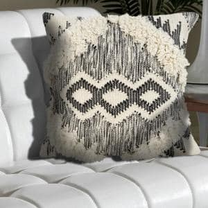 Ranch Style Ivory and Black Geometric Hypoallergenic Polyester 20 in. x 20 in. Throw Pillow