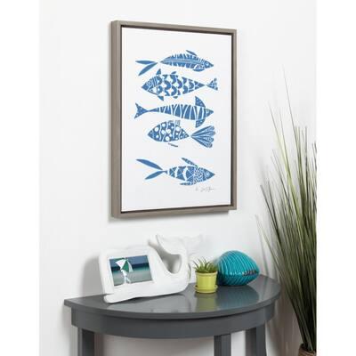 """Sylvie """"Fishes Blue"""" by Giuliana Lazzerini Framed Canvas Wall Art"""