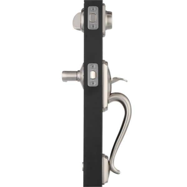 Schlage Camelot Satin Nickel Single Cylinder Deadbolt With Accent Lever Door Handleset F60 V Cam 619 Acc The Home Depot