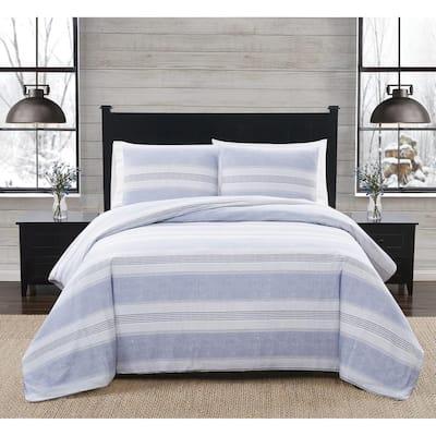 2-Piece White and Black Stripe Cotton Flannel Twin/Twin XL Duvet Cover Set