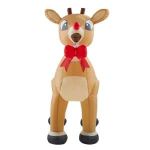 4.99 ft. Inflatable with Red Bow and Glowing Red Nose
