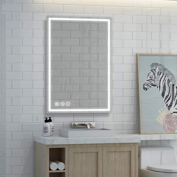 Boyel Living 36 In W X 24 In H Frameless Rectangular Led Light Bathroom Vanity Mirror In Clear Kfm42436sf1 The Home Depot