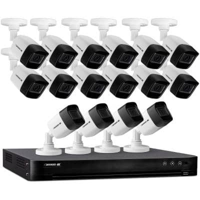16-Channel Ultra HD 4K (8 MP) 4TB DVR Security Camera System with Remote Viewing and 16 Wired Cameras