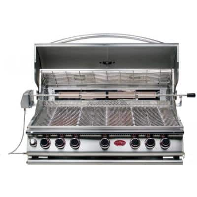 5-Burner Built-In Stainless Steel Propane Gas Convection Grill with Infrared Rotisserie