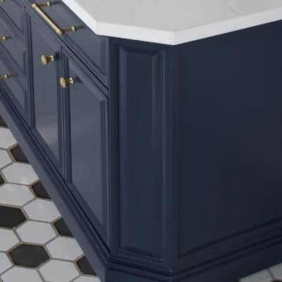 Palace 72 in. W x 22 in. D Vanity in Monarch Blue with Quartz Vanity Top in White with White Basins