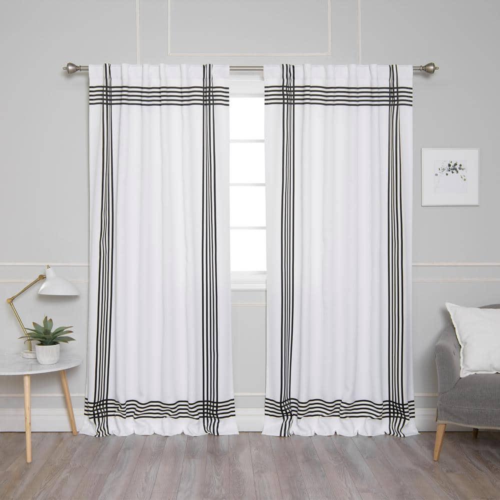 Best Home Fashion White Black Border Rod Pocket Room Darkening Curtain 52 In W X 84 In L Set Of 2 Yg 14 Rdp Nordic Cross Stripe 84 Black The Home Depot