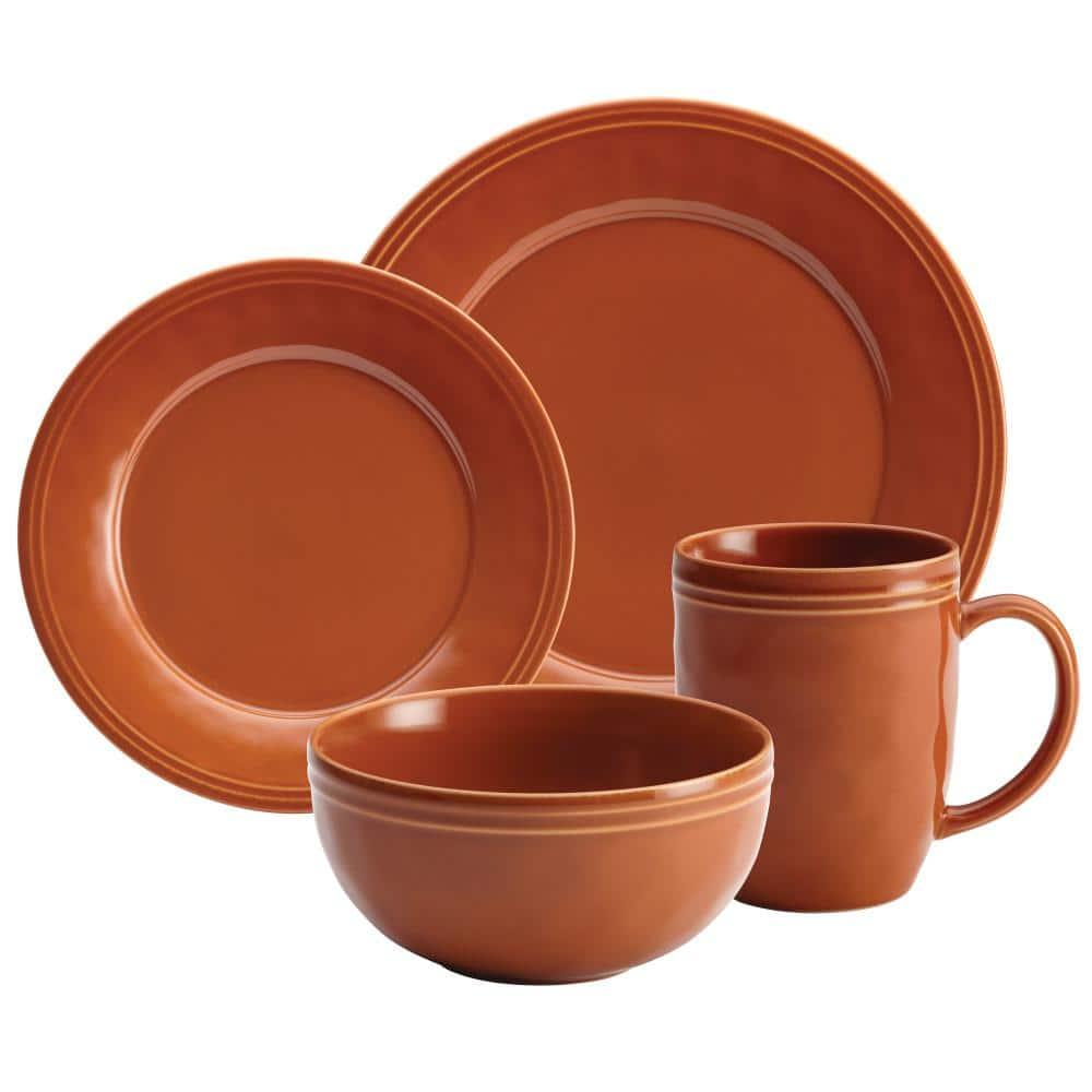 Rachael Ray Cucina 16 Piece Casual Pumpkin Orange Stoneware Dinnerware Set Service For 4 55095 The Home Depot