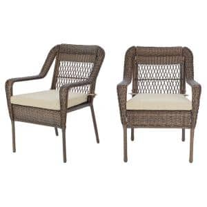 Mix and Match Wicker Outdoor Patio Stationary Lounge Chair with Putty Tan Cushions (2-Pack)