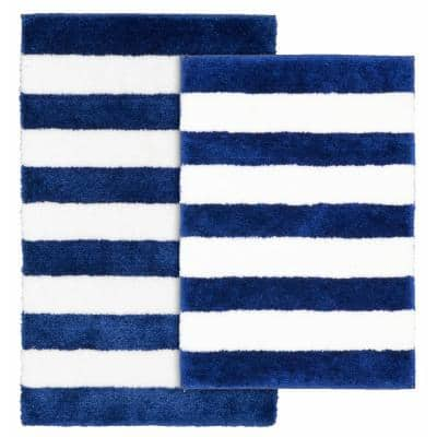 Beach Stripe Indigo Blue and White 21 in. x 34 in. Stripe Nylon Polyester 2-Piece Bath Mat Set