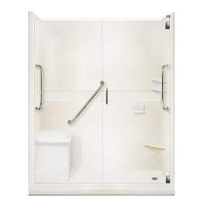 Classic Freedom Grand Hinged 30 in. x 60 in. x 80 in. Right Drain Alcove Shower Kit in Natural Buff and Satin Nickel