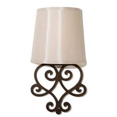 Heart Bronze Wall Scroll Integrated LED Battery Operated Indoor Wall Sconce With Tan Fleck Shade