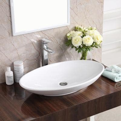 Oval White Vitreous China Vessel Sinks Bathroom Sinks The Home Depot