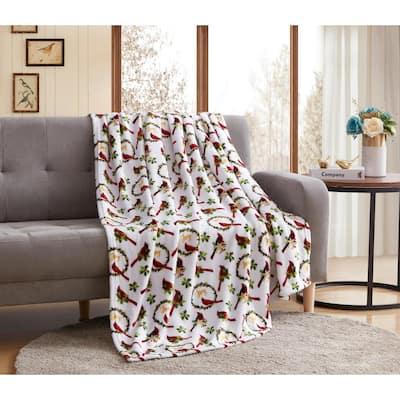 Christmas Joy Cardinal 50 x 60 inches Throw Blanket