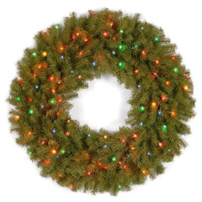 36 in. Norwood Fir Artificial Wreath with Multicolor Lights