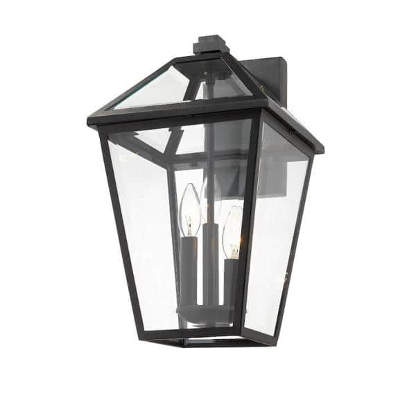 Filament Design 3 Light Black Outdoor Wall Sconce With Clear Beveled Glass Hd Te43607 The Home Depot