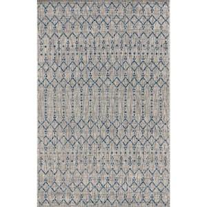 Ourika Moroccan Light Gray/Navy 3 ft. 1 in. x 5 ft. Geometric Textured Weave Indoor/Outdoor Area Rug